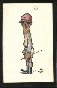 Künstler-AK Karikatur eines Reiters