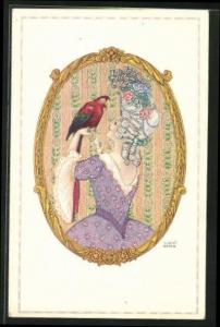 Künstler-AK August Patek: Dame in Mode des Barock mit Papagei, Jugendstil