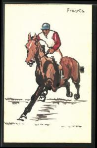 Künstler-AK Handgemalt: Jockey Fruska auf seinem Pferd beim Geländeritt