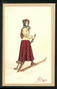 Künstler-AK Carlo Pellegrini: Mädchen auf Skiern