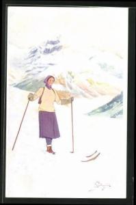Künstler-AK Carlo Pellegrini: Frau auf Skiern im Gebirge
