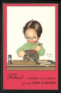 Künstler-AK Beatrice Mallet: Kleiner Messerschleifer bei der Arbeit, Reklame für Frottinet