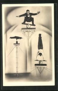 AK Akrobaten bei Balance-Akten in luftiger Höhe