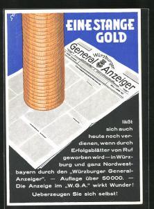 AK Würzburg, Zeitung Würzburger General Anzeiger wirbt für Anzeigen-Reklame