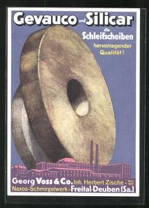 AK Freital-Deuben, Naxos-Schmirgelwerk Georg Voss & Co., Reklame für Gevauco und Silicar Schleifscheiben