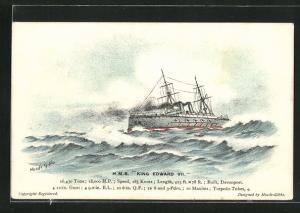Künstler-AK H.M.S. King Edward VII im hohen Wellengang
