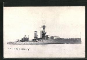 AK Kriegsschiff H.M.S. King George V. auf hoher See