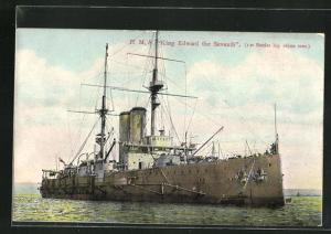 AK H.M.S. Kind Edward the Seventh auf hoher See, Kriegsschiff