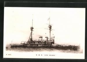 AK H.M.S. Lord Nelson in voller Fahrt, Kriegsschiff