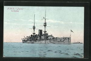 Künstler-AK Kriegsschiff H.M.S. Jupiter auf hoher See