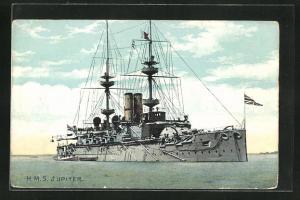 Künstler-AK H.M.S. Jupiter auf See, Kriegsschiff