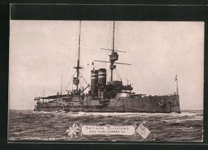 AK Kriegsschiff H.M.S. King Edward VII bei hohem Wellengang
