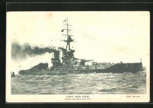 AK H.M.S. Iron Duke in voller Fahrt, Kriegsschiff