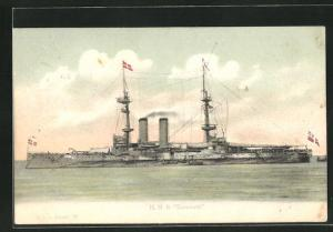 Künstler-AK H.M.S. Exmouth in voller Fahrt, Kriegsschiff