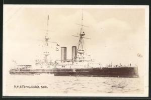 AK Kriegsschiff H.M.S. Formidable 3010 in voller Fahrt