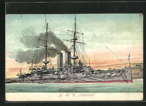 Künstler-AK Kriegsschiff H.M.S. Duncan in voller Fahrt