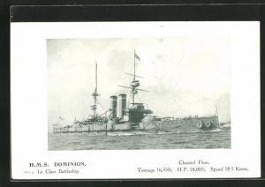 AK Kriegsschiff H.M.S. Dominion in voller Fahrt