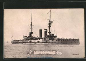 AK Kriegsschiff H.M.S. Duncan in voller Fahrt