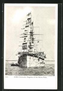 AK H.M.S. Exmouth, Flaggschiff der Heimatflotte, Flaggengala
