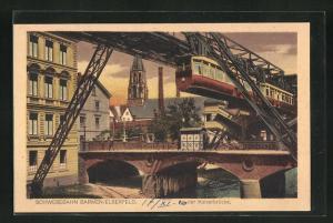 AK Barmen, Schwebebahn Elberfeld an der Kaiserbrücke mit Blick auf Kirchturm