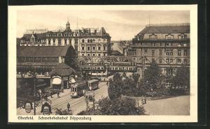 AK Elberfeld, Schwebebahn, Schwebebahnhof Döppersberg, Strassenbahn an Gartenanlage