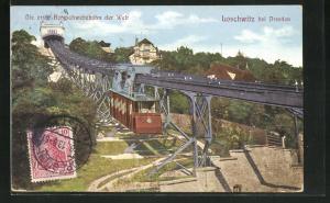 AK Loschwitz, Schwebebahn am Hang, die erste Bergschwebebahn der Welt