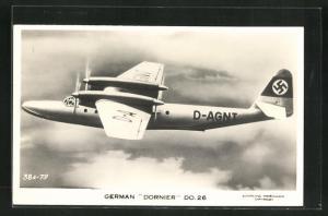 AK Wasserflugzeug Dornier DO. 26, Flugboot über den Wolken,  am Heck