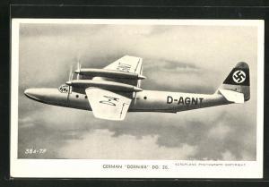 AK German Dornier DO. 26, Wasserflugzeug / Flugboot in der Luft,  am Heck