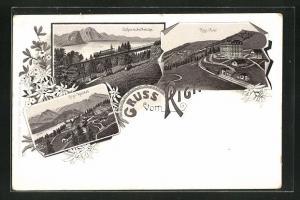 Lithographie Rigi, Schnurtobelbrücke, Rigi-Kaltbad, Rigi-First, Bergbahn