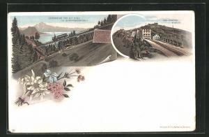 Lithographie Chemin de Fer du Rigi, Schnurtobelbrücke, Rigi-Staffel & Kulm, Bergbahn