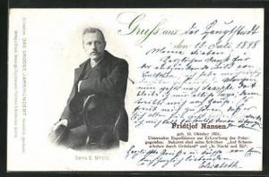 AK Portrait Fridtjof Nansen, geb. 1861, Unternahm Expeditionen zur Erforschung der Polargegenden