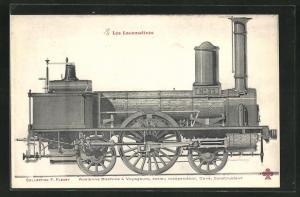 AK Alte französische Eisenbahn-Lokomotive, Ancienne Machine a Voyageurs