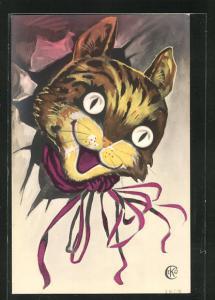 Künstler-AK Ceko: Katzenkopf platzt durch Wand