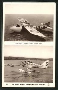 AK The Short Cockle Light Flying Boat, the hort Mussel Two-seater Light Seaplane, Wasserflugzeuge