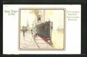 Künstler-AK Henri Cassiers: Red Star Line, Hochseedampfer am Hafen
