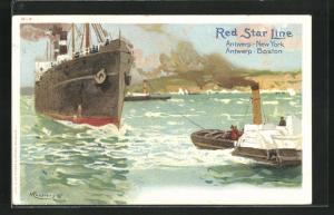 Künstler-AK Henri Cassiers: Red Star Line, Dampfer und Schlepper