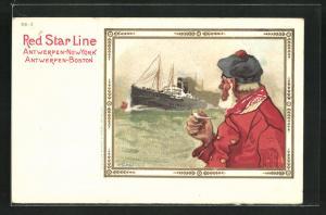 Künstler-AK Henri Cassiers: Red Star Line, Seemann und Dampfer auf See