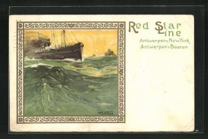 Künstler-AK Henri Cassiers: Red Star Line, Dampfer auf hoher See