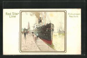 Künstler-AK Henri Cassiers: Red Star Line Antwerpen-New York, Dampfer am Hafen