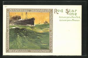 Künstler-AK Henri Cassiers: Red Star Line, Dampfer auf stürmischer See