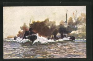Künstler-AK Hans Bohrdt: Naval Manoeuvres: Torpedo Boats in Operation