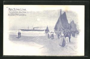 Künstler-AK Henri Cassiers: Red Star Line Antwerpen-New York, Hafenpartie
