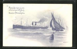 Künstler-AK Henri Cassiers: Red Star Line Antwerpen-New York, Dampfer auf hoher See