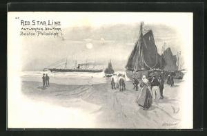 Künstler-AK Henri Cassiers: Hafenblick mit Dampfer der Red Star Line Antwerpen-New York