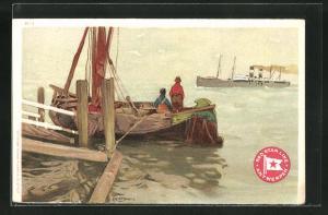 Künstler-AK Henri Cassiers: Fischer beobachten den Hochseedampfer der Red Star Line