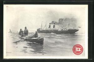 Künstler-AK Henri Cassiers: Hochseedampfer der Red Star Line, Seemänner im Boot