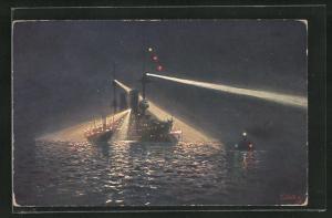 Künstler-AK Hans Bohrdt: Kriegsschiff mit Scheinwerfern in der Nacht