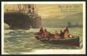Künstler-AK Henri Cassiers: Hochseedampfer der Red Star Line mit Beiboot