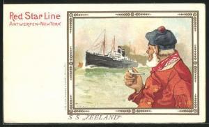 Künstler-AK Henri Cassiers: Seemann und Dampfer der Red Star Line