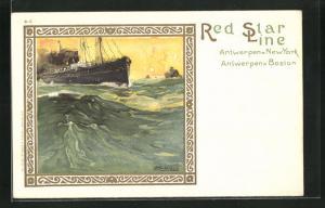 Künstler-AK Henri Cassiers: Dampfer der Red Star Line auf stürmischer See